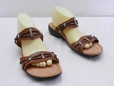 MINNETONKA Sandals Womens 10 Brown Braided Leather Detail Two Strap Slide Shoes
