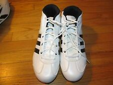 Men's Adidas University White W/Black Cleat Shoes Size 13.5  NWOT