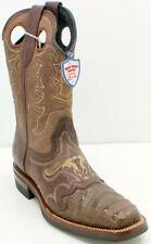 Wild West Caiman Belly Wide Square Toe Men's Brown Boots Sz 8 EE