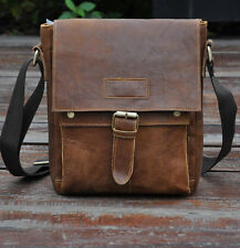 Men's Genuine Leather Cowhide School Brown Satchel Shoulder Messenger Bags NEW