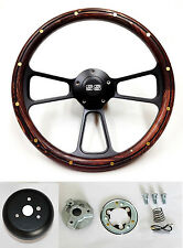 "Chevelle Nova Camaro Impala 14"" Steering Wheel Pine Wood on Black Spokes SS Cap"