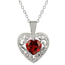 0.91 Ct Heart Shape Garnet White Sapphire 925 Silver Pendant