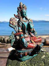ANTIQUE FINISH GREEN TARA COLORFULLY HAND-PAINTED TIBETAN BUDDHIST STATUE NEPAL