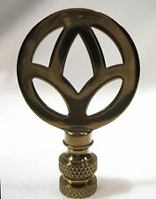 LAMP FINIAL Small Antiqued Brass Peace Symbol (T619)