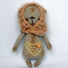 Crochet beige artist teddy bear in a shawl, 7 ¼in.