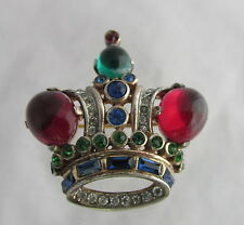 VTG Trifari Philippe Sterling Raspberry Red Cabochons Figural Small Crown Pin