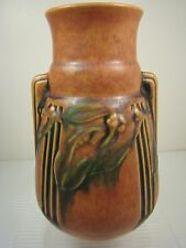 Roseville Pottery EARLY LAUREL Stepped Handle Vase 667-6 RUST RED Art Deco MINT!