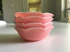 Set Of Four Hazel Atlas Crinoline Ripple Pink Soup Bowls