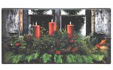 "Red Candles Greenery 16""x8""x.75"" Pine Window Box LED Lighted Canvas NEW"