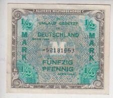 1944 GERMANY 1/2 MARK  Allied occupation Note XF