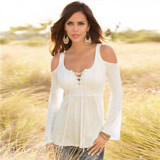 Fashion Women's Sexy Cold Shoulder T-shirt Ladies Casual Tee Shirts Tops Blouse
