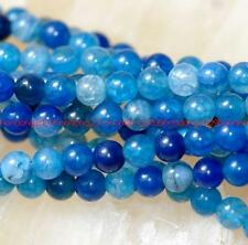 """Natural 4mm blue Dragon Veins Agate Gems Round Loose Beads 15"""" AAA"""