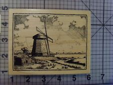 """PSX (Personal Stamp Exchange) Wood Mount Rubber Stamp """"Windmill"""" Stunning Stamp"""