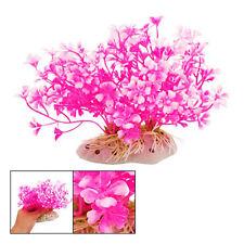 B3 New Hot Pink Aquatic Dwarf Plastic Flower Plant Ornament for Fish Tank