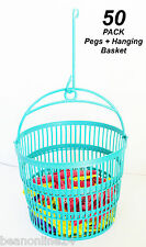 50 Pack x Coloured Plastic Clothes Pegs + Hanging Clothesline Basket