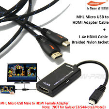 Micro USB to HDMI MHL 5PIN Audio Adapter+Braided HDMI Cable for Samsung, HTC, LG
