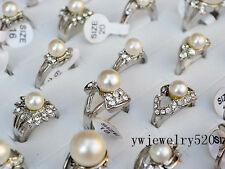 Fashion Wholesale Lots 5pcs Pearl & Silver Plated Women's Rings