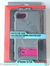 BALLISTIC IPHONE 5/5S DROP PROTECTIVE CASE & SWIVEL HOLSTER CLIP! NEW! RUGGED!