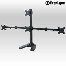 Ergolynx Quad Screen VESA Monitor Pyramid Desk Mount Arm LCD LED TV Four 4 Stand
