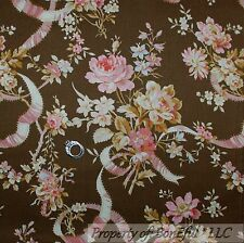 BonEful Fabric FQ Cotton Quilt Brown Pink VTG Antique Grandma Ribbon Rose Flower