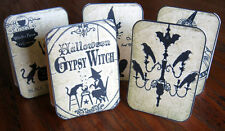 Vintage inspired 8 Halloween witch owl cat tent cards table decoration