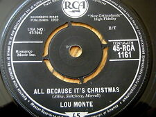 "LOU MONTE - ALL BECAUSE IT'S CHRISTMAS / SANTA NICOLA  7"" VINYL"