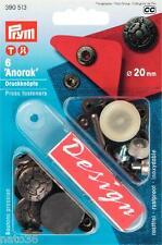 """Druckknöpfe """" Anorak """" Nr. 390513 PRYM 20 mm altsilber Boot Öse Niete Garten"""