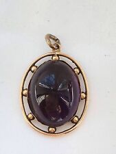 antique hallmark 9ct Cabochon  cut amethyst gold pendant-2.9g