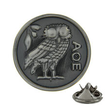 3D Owl of Athena Brushed Metal Pin Badge mythology wisdom ΑΘΕ minerva AJTP145