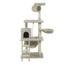 "62"" Large Cat Tree Condo House Kitty Furniture Stand Play Post Scratchers Beige"