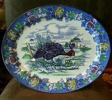 WOODS BURSLEM  BLUE AND BRIGHT COLORS VINTAGE TURKEY HEAVY PLATTER