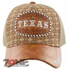 NEW! STRAW MESH TEXAS STAR FAUX LEATHER BALL CAP HAT TAN