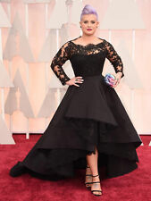 High-low Plus Size Black Lace Long Sleeve Evening Dress Prom Gown Wedding Party
