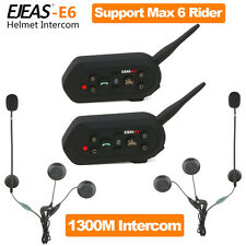 2 x1300M Interphone BT Bluetooth Casco De Moto Intercomunicador 6 Pilotos
