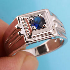 Men Real 925 Sterling Silver Ring Size 13 with Solitaire Sapphire Blue Stone