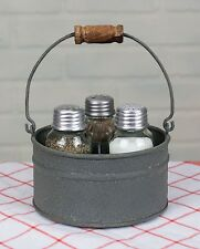 Unique Primitive Industrial Round Bucket MASON Jar Salt Pepper & Toothpick Caddy