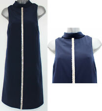 * Monsoon * Navy Impreziosito Roll Collo in Stile Vintage Vestito A-Line Tunica sz-12 eu-40