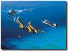 Too Close for Comfort (Artist Proof) by Jack Fellows - P-38 Lightning & Corsair