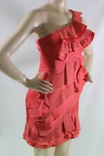 $398 NEW BCBG MAX AZRIA JONESY CORAL ORE60575 ONE SHOULDER WITH FRILLY SZ 6=28