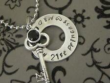 Personalised  Hand Stamped Happy 21st Birthday Princess  Pendant 25mm