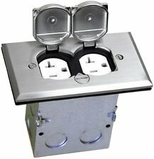 1-Gang Electrical Floor Box Duplex 20A Receptacle Outlet Steel