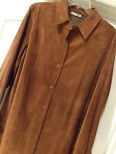 Lush NEW Size 12 - XL COLDWATER CREEK Rich Brown Suede Leather Jacket Coat
