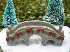Miniature Dollhouse FAIRY GARDEN ~ Victorian Village CHRISTMAS Bridge