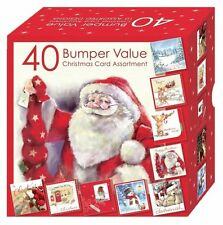 Christmas Cards Bumper Box 40 Assorted Xmas Cards 10 Designs Cute & Traditional