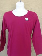 NWT JUST MY SIZE ESSENTIALS L/S JERSEY KNIT SCOOP NECK TEE SHIRT 3X Black Berry