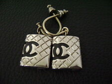 Auth Chanel Vintage Silver Rectangle Flap Bag Dangling Pierce Earring(05C)