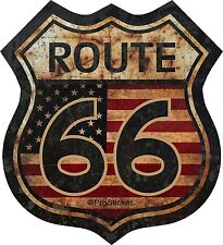 "1 - 3"" Route 66 American Flag Decal Sticker Junk Yard Rat Rod US Highway 825.3"