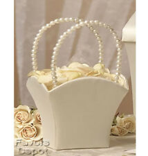 Ivory Flower Girl Basket Pearl Handle