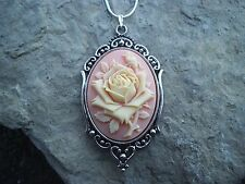 STUNNING CREAMY ROSE ON CORAL PINK CAMEO NECKLACE!!! QUALITY!!!