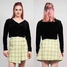 WOMENS VINTAGE GREEN TARTAN HIGH WAIST MINI SKIRT 60'S WOOL BLEND WINTER VTG 6